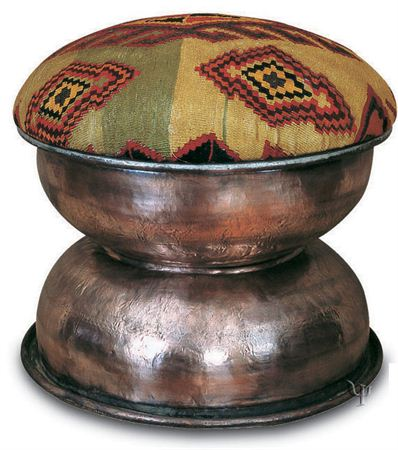 Picture of Kilim and Old Copper Ottoman